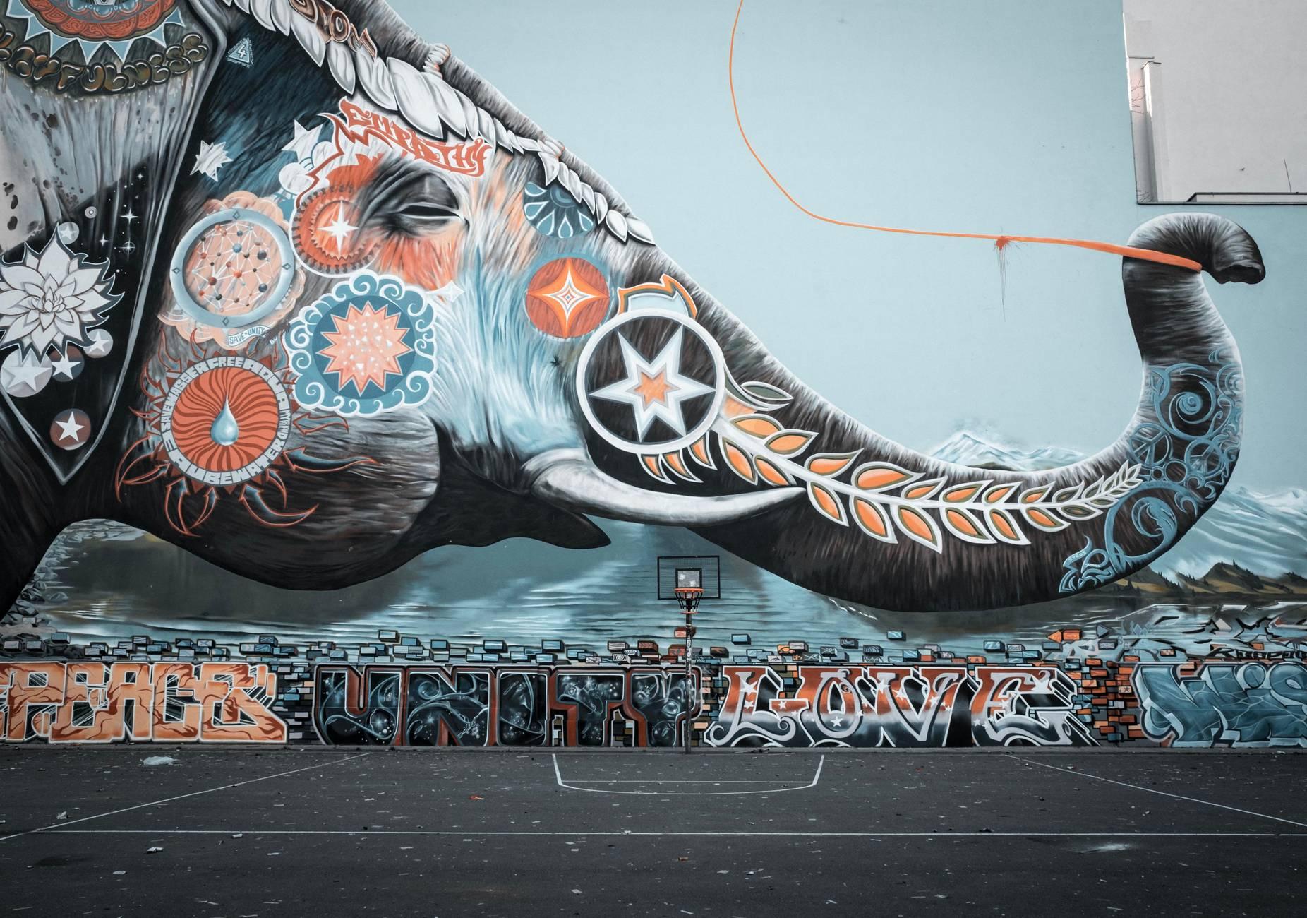 Creative elephant mural